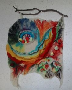 "Handmade art panel ""Easter mood"" of wool felting /filc/ technique, to decorate the wall, wall hanging, felted picture"