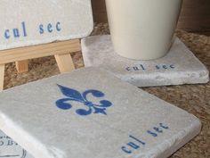 Fleur de Lis Cul Sec Tile Coasters