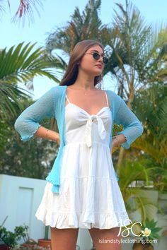 Looking for a summer essential that is lightweight and can throw over anything? Look no further, this Baby Blue Knit Shrug will be the perfect edition. So many colors to choose from. #casual #fashion #luau #cruisewear #summer #beachcoverup #bolero #cruisewear #beachcardigan #cardigan #over-swim #knit #knittedshrug #shrug #lightweight