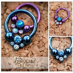 Circular barbells with gem clusters. Bornthiswaybodyarts.com Soi cool wanna have!!