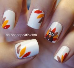 thanksgiving turkey nails .. super easy. gobba gobba.