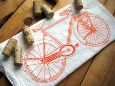 vintage bicycle tea towel