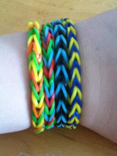 4 new rainbow loom bracelets!!