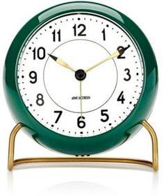 """Carl Mertens Arne Jacobsen """"Station"""" Table Alarm Clock-GREEN"""