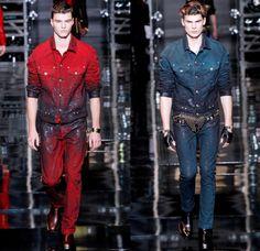 Top 10 Men's Fashion Trends in 2015 ... versace-2014-2015-fall-autumn-winter-milan-fashion-mens-runway-moda-italy-denim-jeans-vintage-patchwork-destroyed-paint-splatters-coat-cowboy-western-biker-03x └▶ └▶ http://www.topteny.com/top-10-mens-fashion-trends-in-2015/