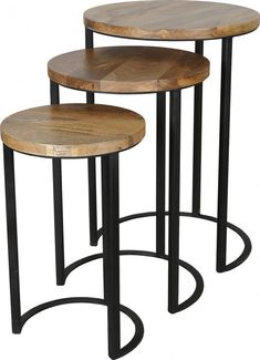 This industrial styled nest of three tables is made out of solid light mango wood and metal. It will look good in any contemporary or traditional styled home.