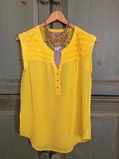 Yellow makes me happy...Daniel Rainn silk pintuck blouse  Tovah, I'd love this.