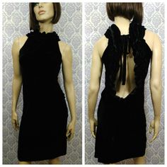 DKNY Black Velvet Cocktail Dress Womens SZ 4 Silk Blend Sleeveless Backless #DKNY #PartyCocktail #littleblackdress #blackvelvet #backlessdress