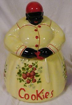 black mammy doll cookie jar | Black Americana Mammy Cookie Jar Yellow w Strawberries McCoy | eBay