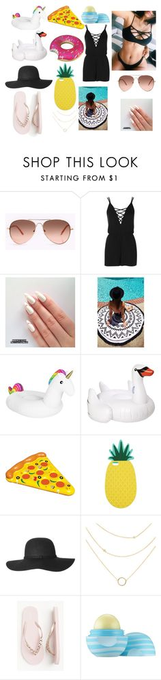 """Pool Day"" by calliedollz on Polyvore featuring Topshop, Sunnylife, Big Mouth, Miss Selfridge and Eos"
