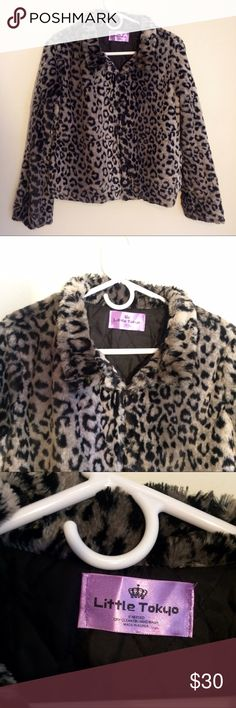 Faux Fur Leopard Print Jacket Super soft and cute. Excellent Condition. No size on the label, but I think it would fit small/medium. Little Tokyo Jackets & Coats Puffers