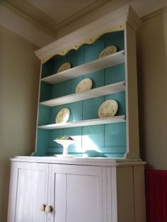Vintage Irish Pine Kitchen Cabinet / Dresser - Upcycled and Hand Painted with Chalk Paint in Provence and Old White by Annie Sloan on Etsy, $696.59