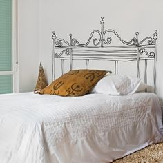 M Romantic Bed Headboard Sticker Marvelous Wall Decal Headboard - Home Design and Wall Decoration Ideas Headboard Decal, Bedroom Decor, Wall Decor, Solid Wood Furniture, Headboards For Beds, Painted Headboards, Vinyl Wall Decals, Vinyl Decor, Sticker Vinyl