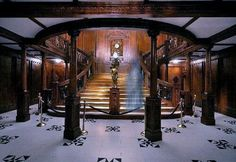 A replica of the first class  lobby onboard The Titanic- This is the Titanic Artifact Exhibit