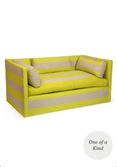 Mahea loves yellow! One of a kind stripe sofa in yellow & gray by Tiger Lily.