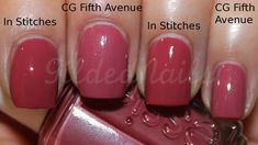 "Essie ""In Stitches"" and China Glaze ""Fifth Avenue"" (dusty rose/mauve/soft raspberry nail polish)"