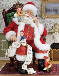 Home > Santa Figurines > Fabriche Santas > Napping Santa and Elves #Santa_Claus #Santa #Christmas #Elves