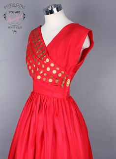 1950's Classic Red w/ Gold Polka Dots Evening Party Dress - M