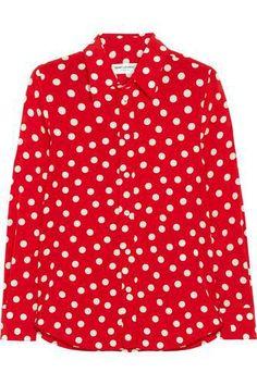 Polka-dot silk-crepe shirt #shirt #covetme #saintlaurent