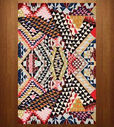 """Orange, Pink & Black Patterned Floor Mat - 23"""" x 36"""""""