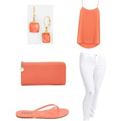 Casual summer coral and white jeans by joyeuxun on Polyvore featuring polyvore, fashion, style, Oasis, Old Navy, Tkees, Ivanka Trump and Anne Klein