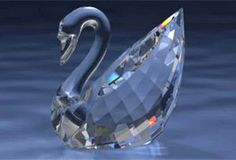 Swan Swarovski Crystal Clear Faceted Body and Crystal Neck.  Swarovski Crystal Figurine.
