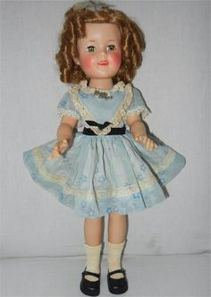 """Lovely 17"""" 1958 Ideal Shirley Temple Doll in Party Dress with Pin from reddoorantiques on Ruby Lane"""