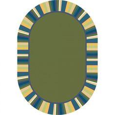Joy Carpets Just for Kidss Clean Green Bold Kids Oval Rug - 1535-01-OV