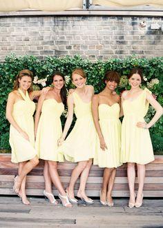 Pale yellow chiffon bridesmaid dresses for a spring wedding by Donna Morgan. via @Style Me Pretty