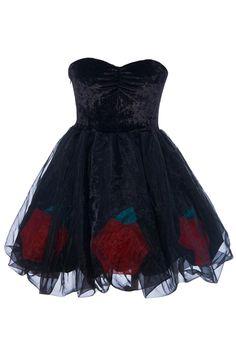 ROMWE | Rose Black Puff Bandeau Dress, The Latest Street Fashion