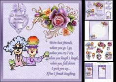 8x8 Stella and Edna best friends mini kit on Craftsuprint designed by Carol Smith - a mini kit featuring Stella and Edna, this kit is a little different in that it has a choice for you to either decoupage Stella and Edna or pyramage them has the best friends sat enjoying a nice glass of wine together, with a verse to the side which says .... We're best friends where you go I go, when you cry I cry, when you laugh I laugh, when you fall down I pick you up... After I finish laughing. Oh how I…