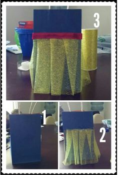 DIY snow white favor bags!! Easy to make!! You only need 4 items. Yellow tulle blue paper bag red ribbon and glue.