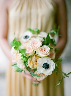 anemones mixed with soft pinks and peaches Photography by Laura Ivanova Photography / lauraivanova.com, Event Planning by Premier Planning Services, Inc / premierplanningservices.com, Floral Design by Summer Harsh Botanical Artistry / summerharshbotanicalartistry.com/ #Bouquets