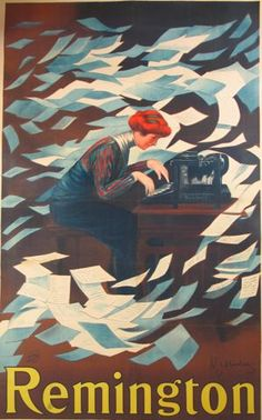 """""""The Pounding Thunder of her Heart Raced...."""" Vintage Cappiello Poster: Remington Typewriters"""