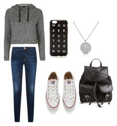 """""""cute&casual"""" by eldamariaeche ❤ liked on Polyvore featuring Topshop, Converse, J.Crew and Tory Burch"""