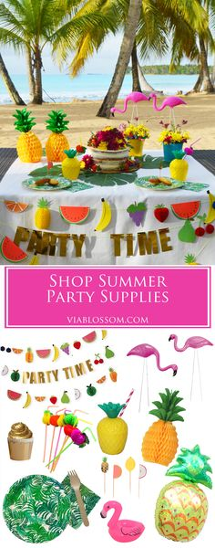 tropical | party | supplies | pineapple | flamingo | birthday | decorations | summer