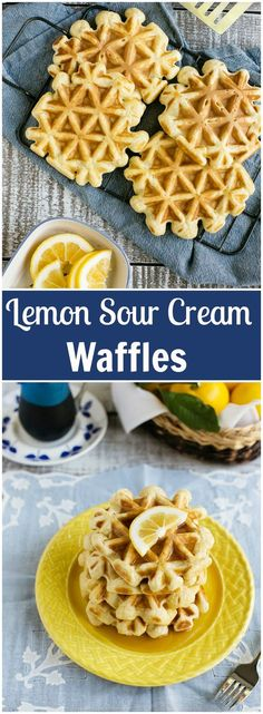 Try these lemon sour cream #waffles for a unique take on an old classic. They are great for breakfast or brunch and freeze beautifully for those busy weekday mornings.