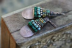 Rustic Boho *Alegria,Alegria* Series earrings -Ethnic,Artisan,Mixed Media,Mixed Beads,Turquoise color,Eclectic,Folk,Hippie,Ethnic,Boho,Short