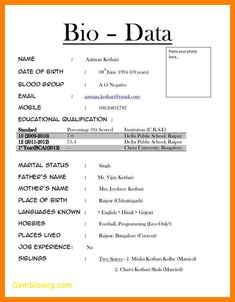 Format Of Biodata For Job Pdf Inspirational Etame Mibawa Cv Simple