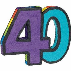 40 Pinata by Ya Otta Pinata. $25.87. Material - Paper. Type of Product - Pinatas/Accessories. Care Instructions - Spot Clean With a Damp Cloth. 40 Pinata is approximately 21.5in wide x 17.5in high x 2.5in deep and is colored with a purple 4 and a bright blue 0 along with a rainbow edge. Includes a plastic hook on the top for easy installation. Can also be used as a decoration.