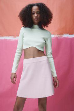 KNIT CROP TOP   ZARA United Kingdom Zara United Kingdom, Fashion Updates, Cheer Skirts, Skater Skirt, Mini Skirts, Crop Tops, Knitting, Board, Tricot