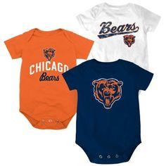 Chicago Bears Newborn 3-Pack Creeper Set - Orange/White/Navy Blue Mommy's favorite team! Dabears!!!!