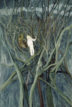 The girl in this painting is one of the artist's daughters. Doig made a large number of studies for the painting, trying out different colour combinations for the branches and background; but the figure of the girl is always white. She almost has the appearance of a ghost, in stark contrast to the green-blue branches and background.