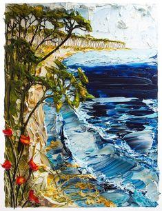 Seascape by Justin Gaffrey Texture Art, Texture Painting, Landscape Quilts, Landscape Paintings, Oil Paintings, Seascape Art, Classic Paintings, Artist Art, Art Techniques