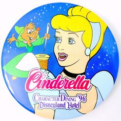 Disney Cinderella Pin Character Dining 1996 Disneyland Hotel Round Suzy Mouse #Disney