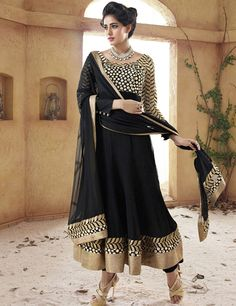 G3 Fashions Striking black chiffon unstitched floor length salwar kameez Products code: G3-WSS2812 Price:  ₹ 4590.00