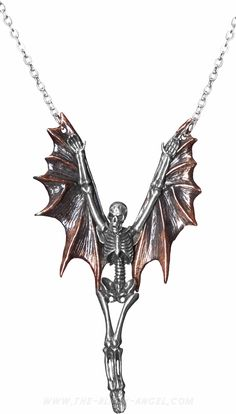 The Upir necklace and pendant by Alchemy Gothic is shaped like a large skeleton with bat wings.