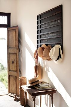 Hats hung in hallway