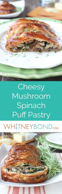 This vegetarian puff pastry recipe is filled with sautéed mushrooms, spinach, and cheddar cheese. Perfect as an appetizer for Easter or meatless Monday dinner anytime! Served on @worldmarket Verde Dinner Plates. #WorldMarketTribe