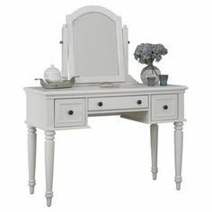 """Vanity with 3 drawers and a tilting mirror.  Product: VanityConstruction Material: Veneers, metal and mirrored glassColor: WhiteFeatures: Three drawersDimensions: 61.25"""" H x 46.25"""" W x 19"""" D"""